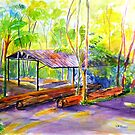 Currumbin , Cougals, Old timber Mill [Watercolour ] by Virginia McGowan