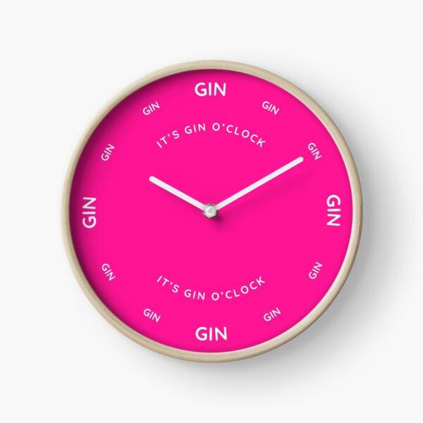 It's Gin O'Clock Deep Pink Clock