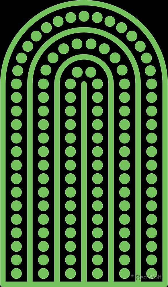 Copy of Geometric Pattern: Arch Dot: Green/Black by * Red Wolf