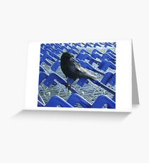 firm purchase (crow with shopping trolleys) Greeting Card