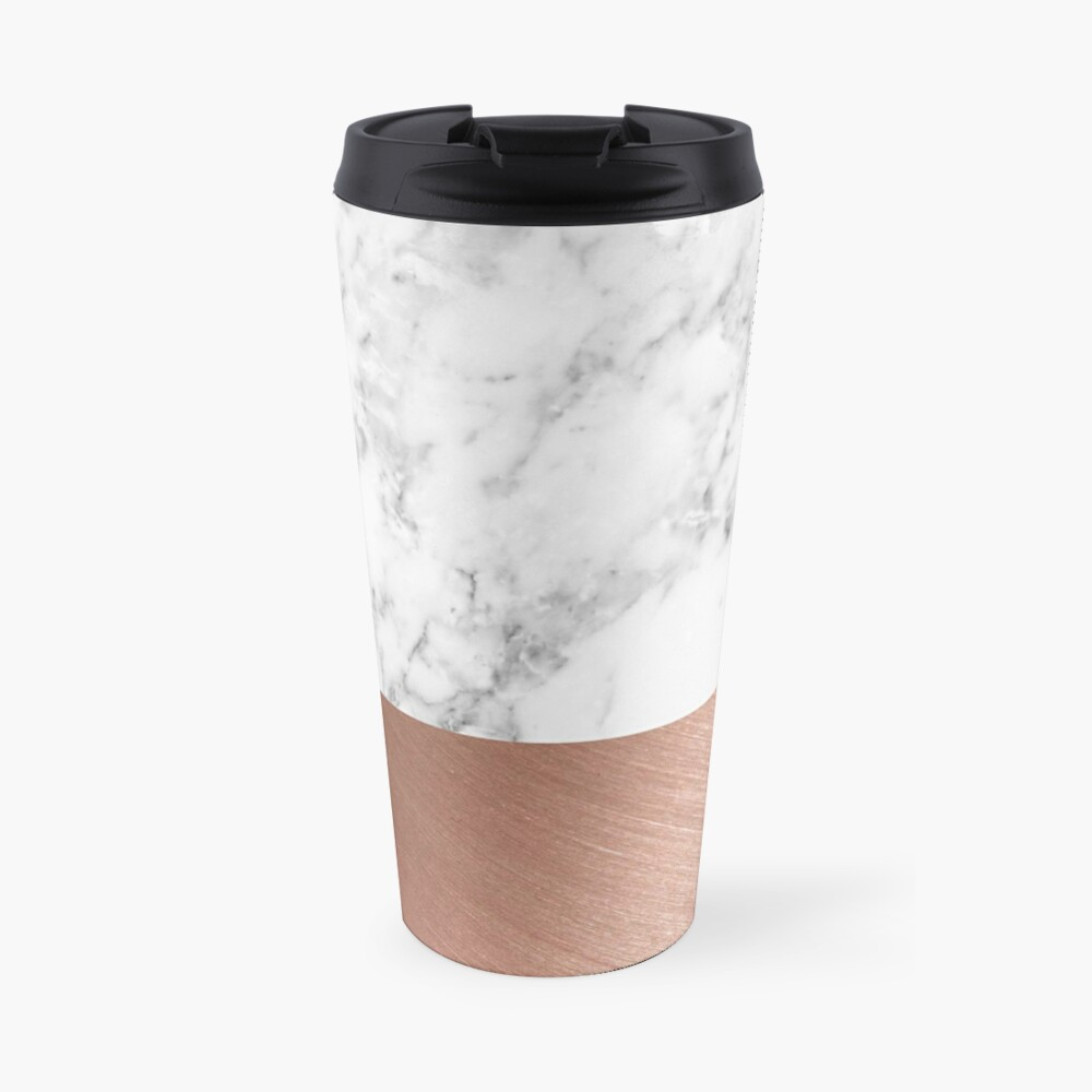 Rose Gold Marble Travel Mug