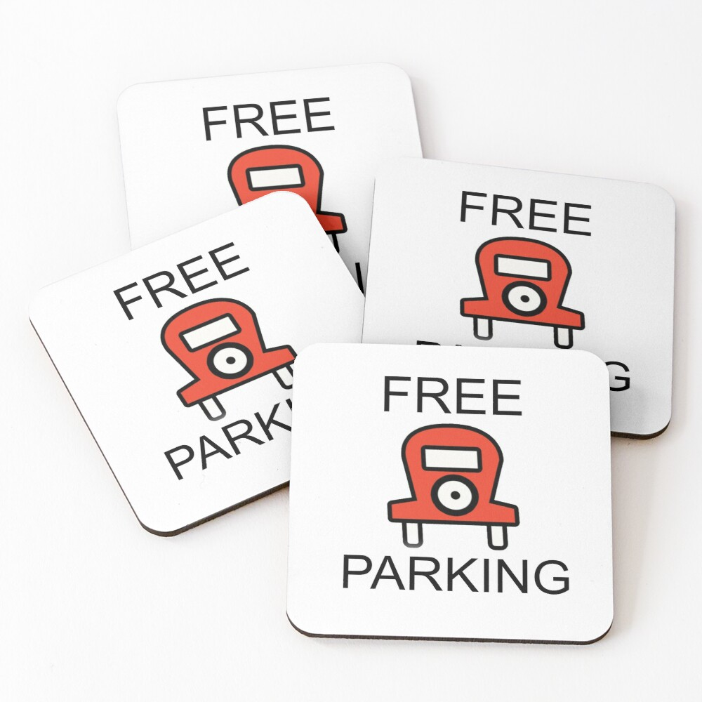 Free Parking Monopoly Coasters (Set of 4)