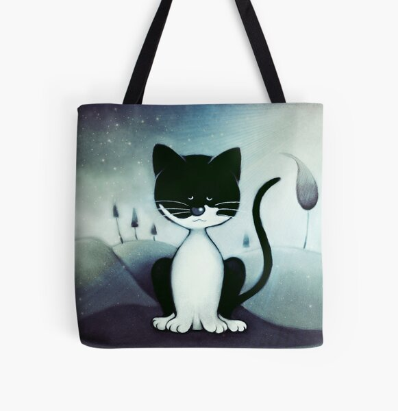 Black and White Cartoon Cat All Over Print Tote Bag