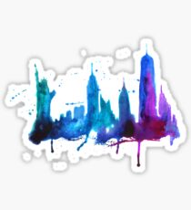 Watercolor New York Skyline Silhouette Sticker