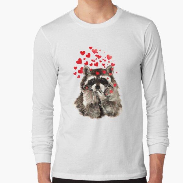 Cute Watercolor Raccoon Blowing Kisses & Hearts Long Sleeve T-Shirt