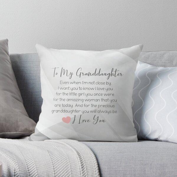 Granddaughter Pillow - Granddaughter blanket - Grey and White Granddaughter Gift Throw Pillow