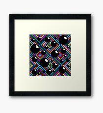 Black shiny balls and colored diamonds. Framed Print