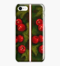 Hawthorn Berries: Red on Green: Pattern: Oil Pastel Art iPhone Case/Skin