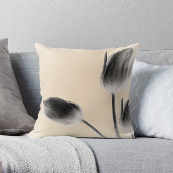 Gray Tulips Throw Pillow