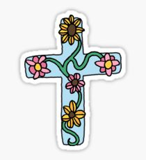 Floral cross - hand drawn style Sticker