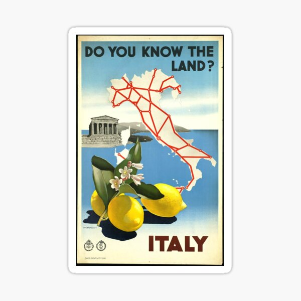 Vintage poster of Italy Sticker