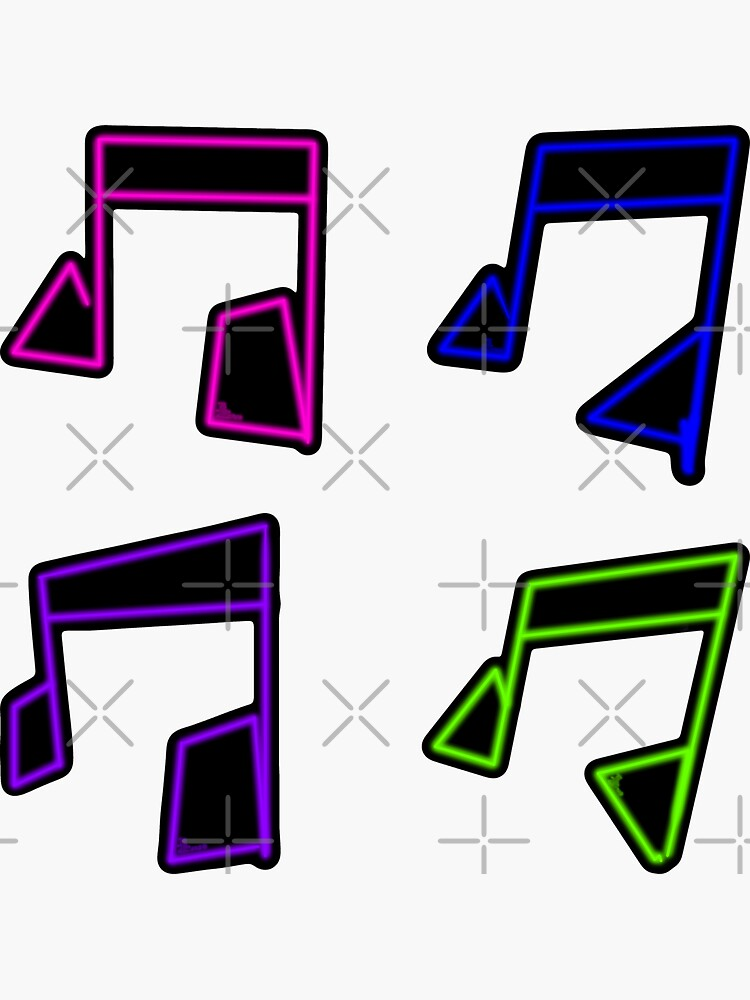 80s Neon Music Note Sticker Pack by that5280lady