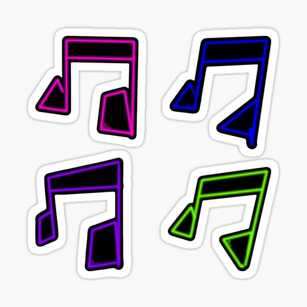 80s Neon Music Note Sticker Pack Glossy Sticker