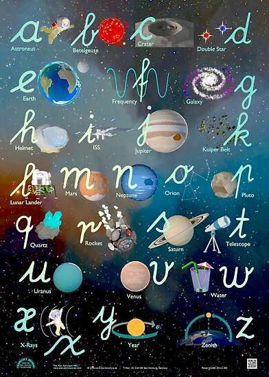 Alex Astronaut ABC Lowercase Handwriting Poster by GordonsArcade