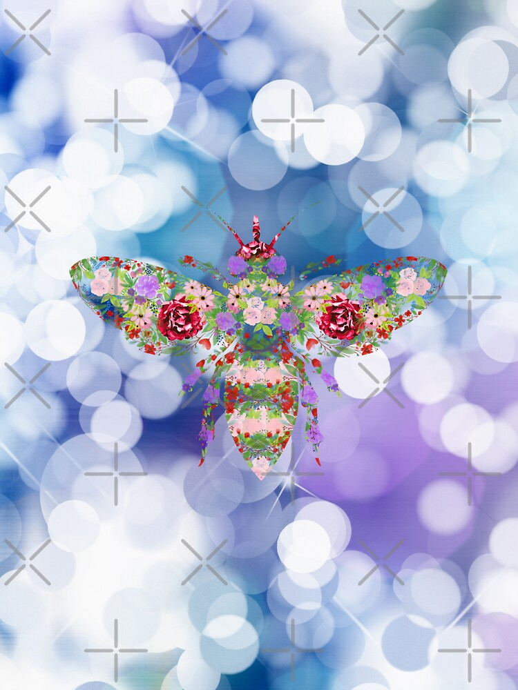 Glittering Blue and Purple Floral Worker Bee by tribbledesign