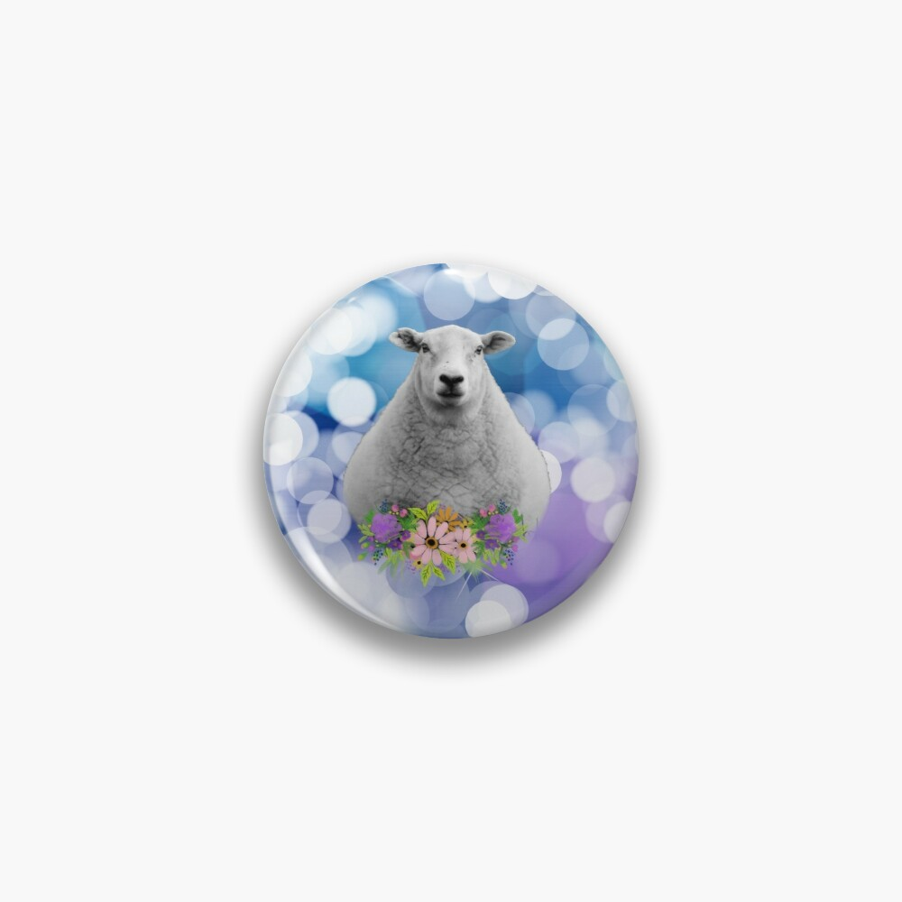 Glittering Blue and Purple Floral Sheep Pin