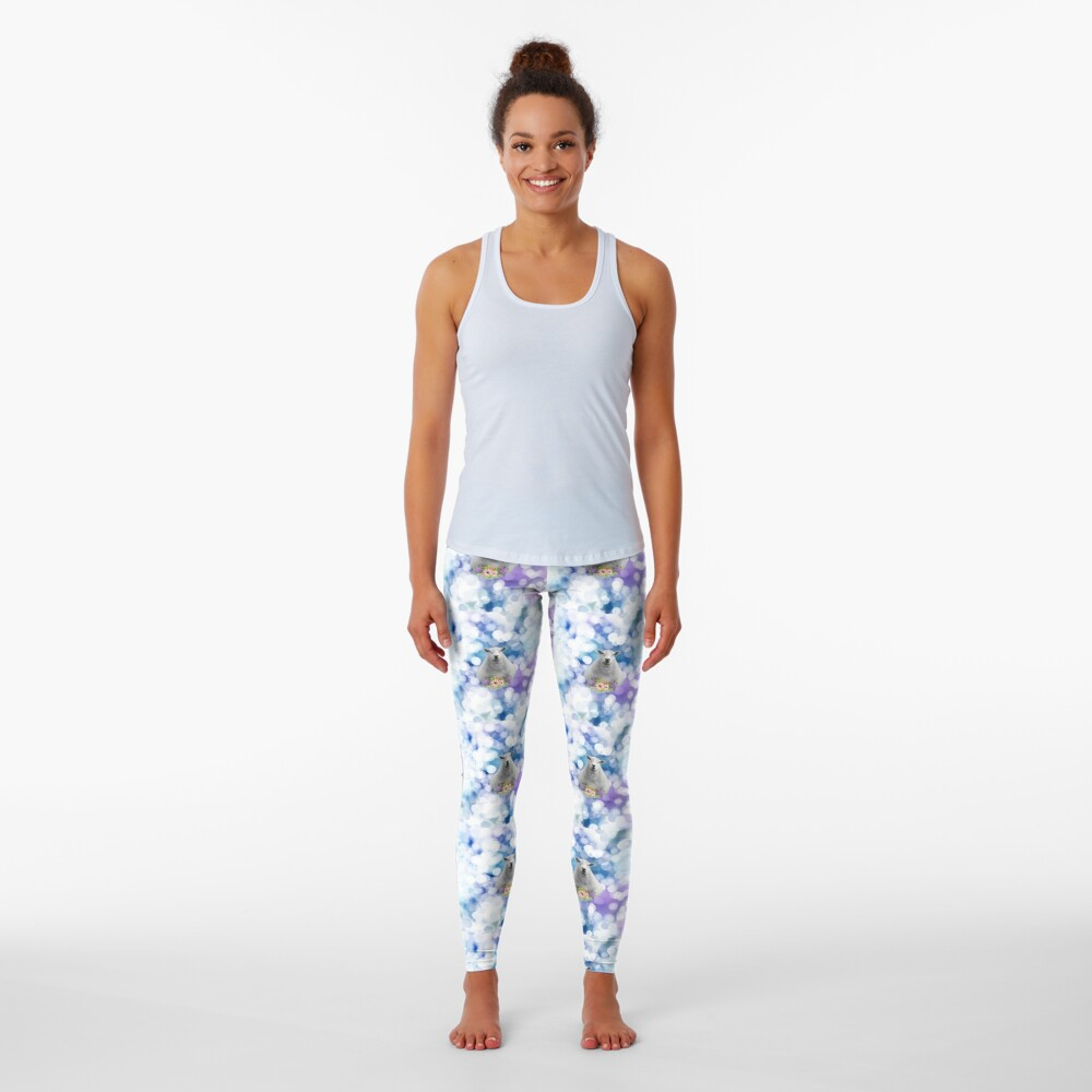 Glittering Blue and Purple Floral Sheep Leggings