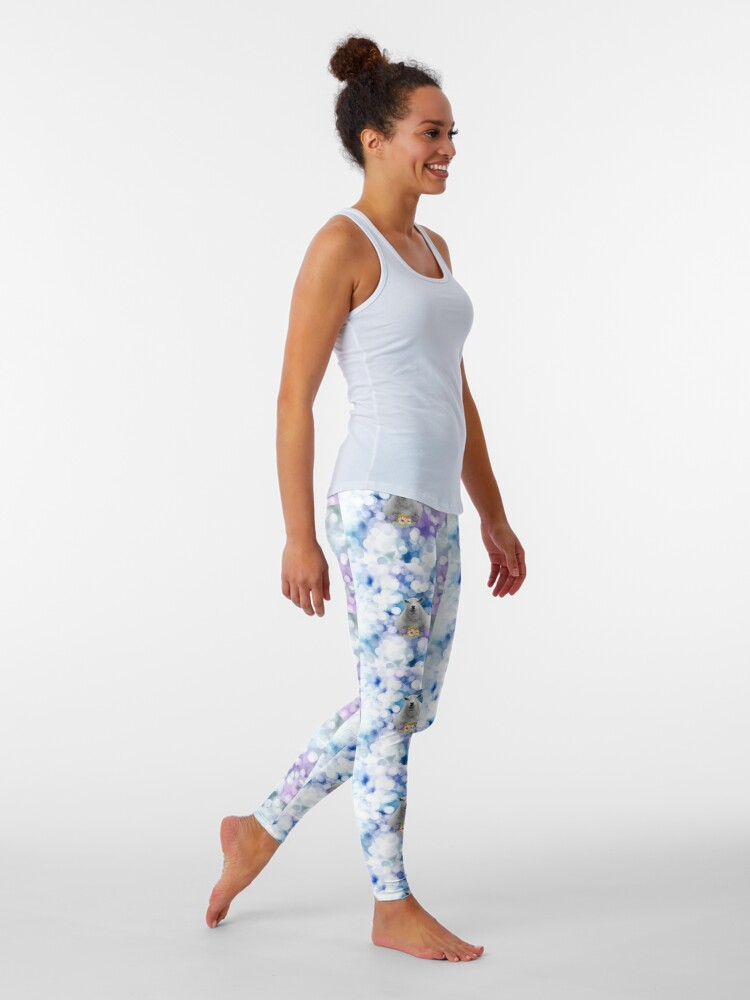Alternate view of Glittering Blue and Purple Floral Sheep Leggings