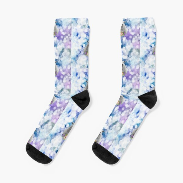 Glittering Blue and Purple Floral Sheep Socks