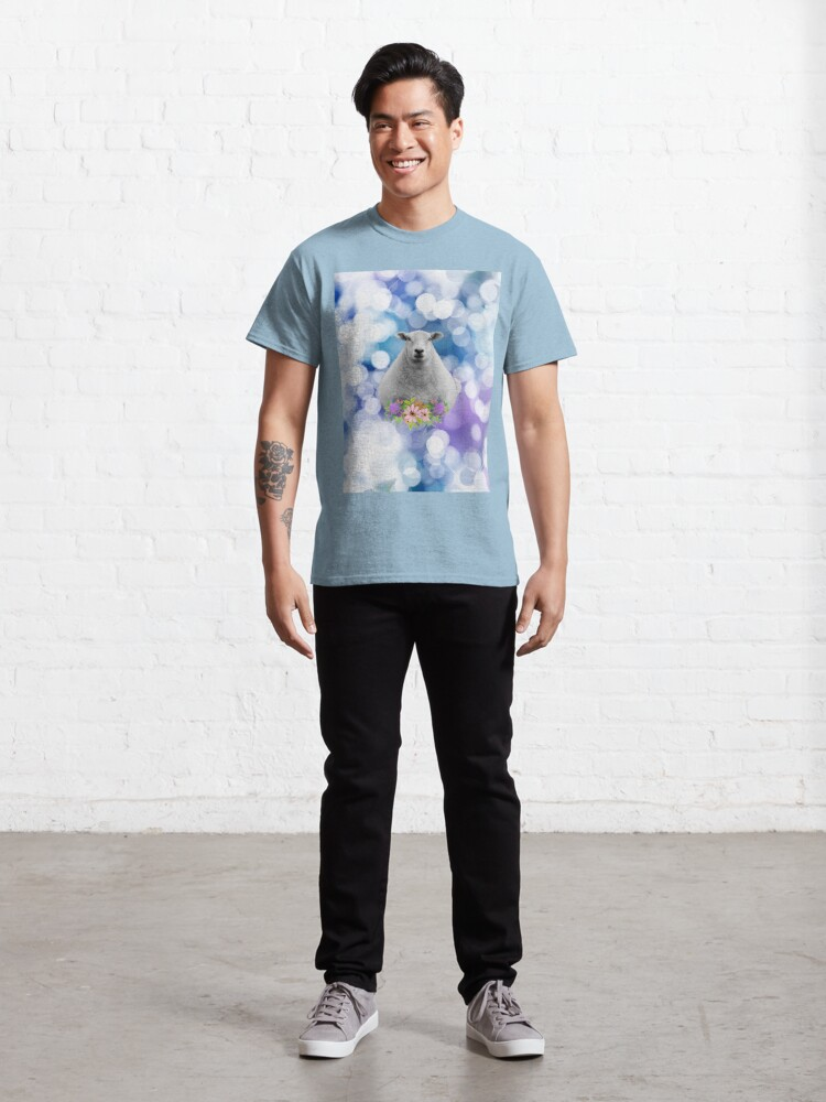 Alternate view of Glittering Blue and Purple Floral Sheep Classic T-Shirt