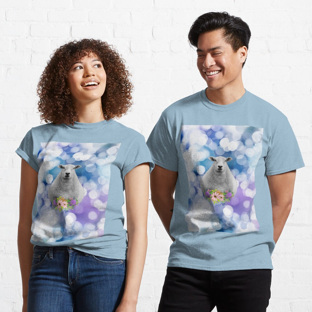 Glittering Blue and Purple Floral Sheep Classic T-Shirt