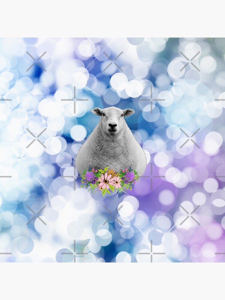 Glittering Blue and Purple Floral Sheep by tribbledesign