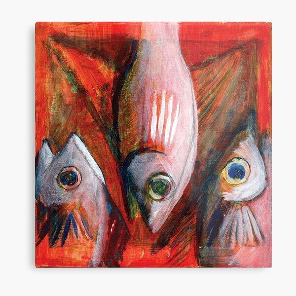 fish06-2007 - three fish expressionist  Metal Print