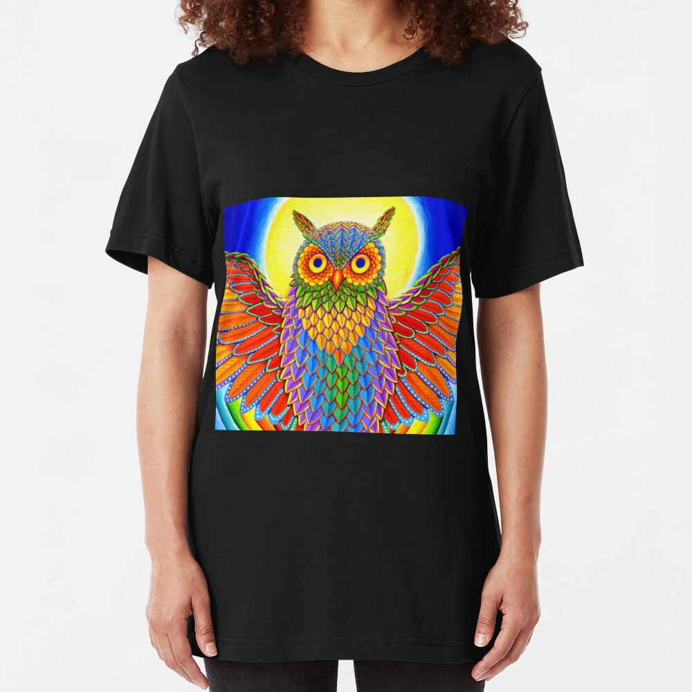 Colorful Psychedelic Rainbow Owl Slim Fit T-Shirt