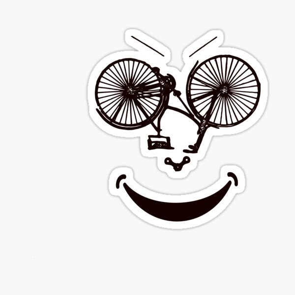 Smiling Bicycle, FUNNY smiling bike, Funny cycling gift Sticker