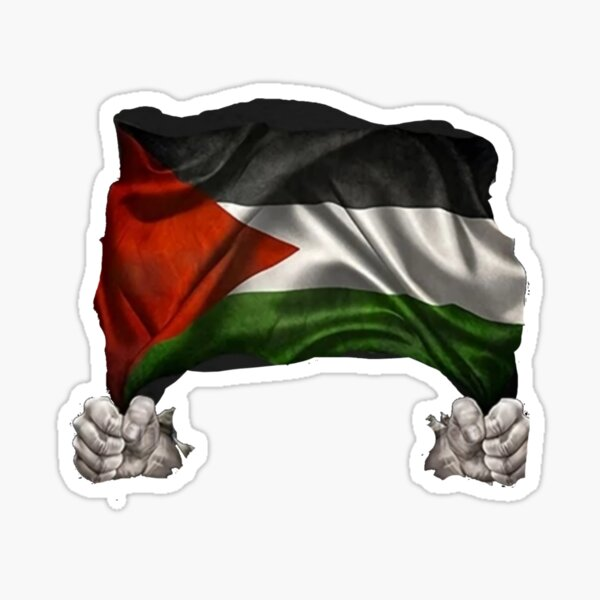 hands holding the flag of Palestine Sticker