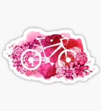 Bicycle with watercolor succulent design Sticker