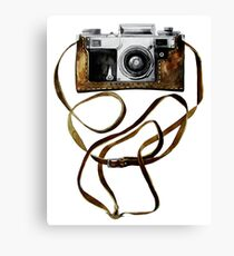 Watercolor vintage camera in leather case Canvas Print