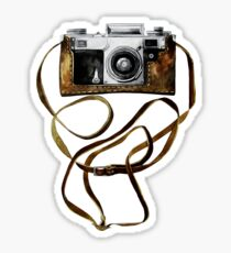 Watercolor vintage camera in leather case Sticker