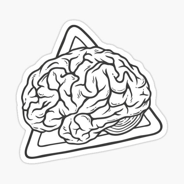 Vintage Brain 80s 90s Nostalgia Retro Brainy Nerdy Graphic Tee Sticker