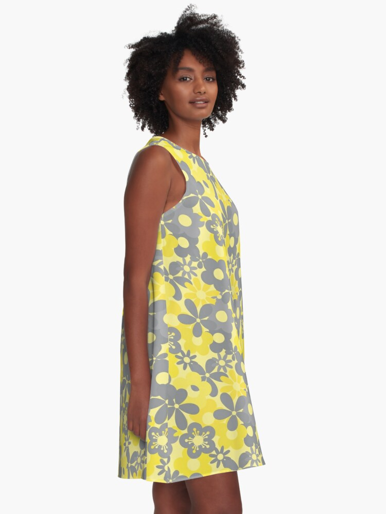 Alternate view of Pantone Color Year 2021 Flower Power Seamless Pattern Print A-Line Dress