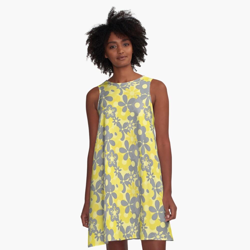 Pantone Color Year 2021 Flower Power Seamless Pattern Print A-Line Dress
