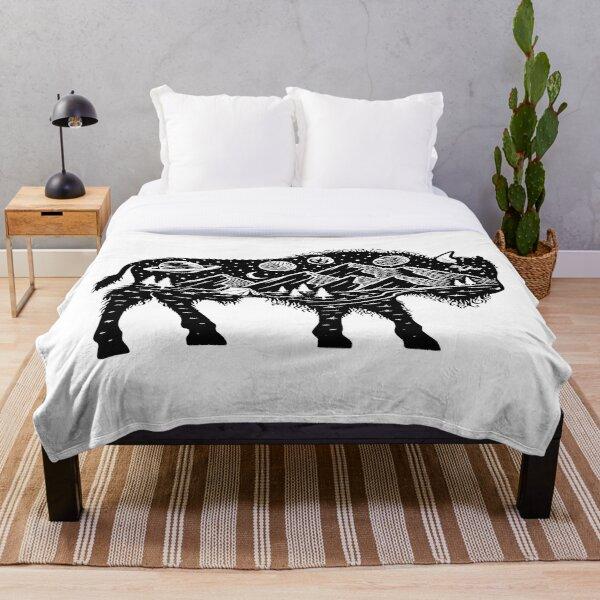 Surreal Buffalo Bison with Mountains, Planets and Stars Wanderlust Graphic Tee Throw Blanket
