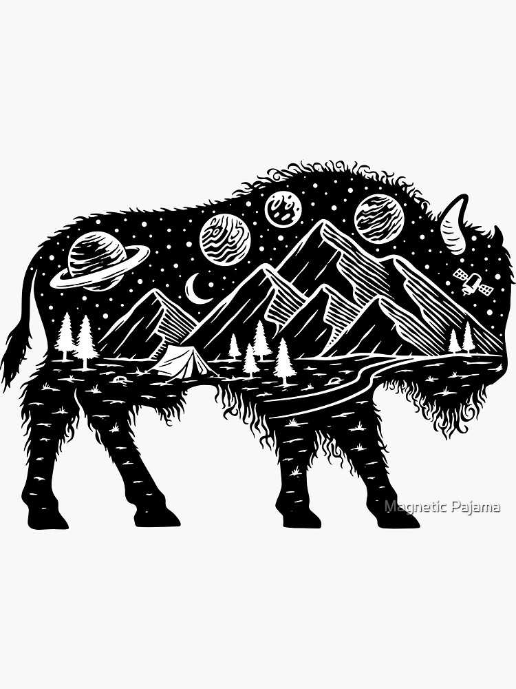 Surreal Buffalo Bison with Mountains, Planets and Stars Wanderlust Graphic Tee by MagneticMama