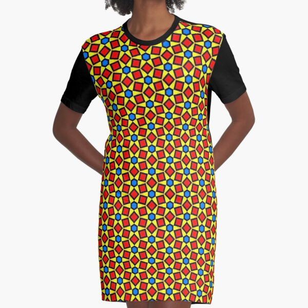 Yellow, Red and Blue Star Mosaic Tile  Graphic T-Shirt Dress