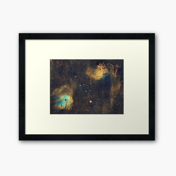 IC410 and IC405 - The Tadpoles and Flaming Star - Hubble Palette nebulae Framed Art Print