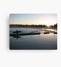 Sunset surfer reflection in North Bondi Pool Canvas Print
