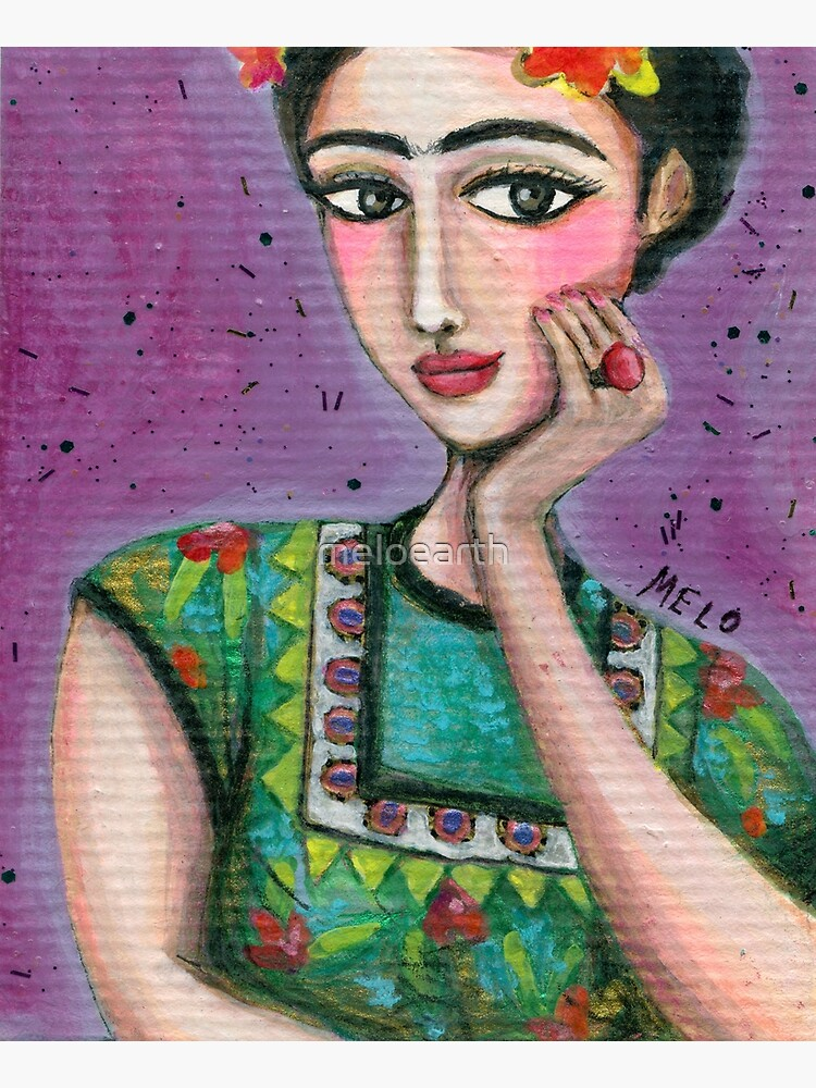 Happy Frida Kahlo Portrait with purple background by meloearth