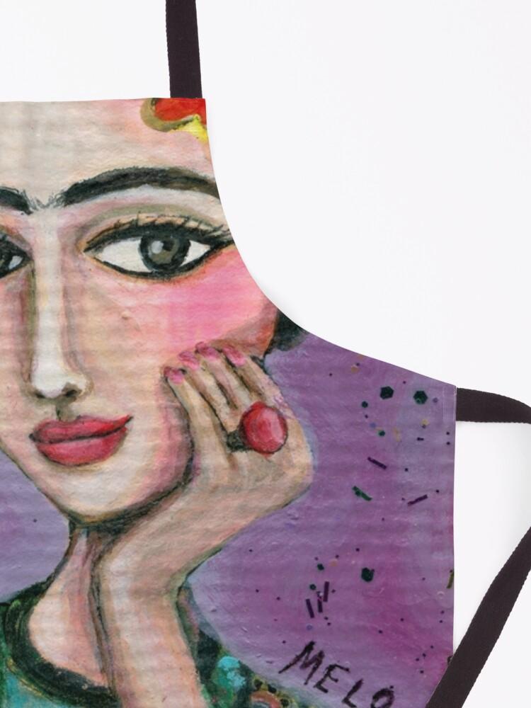 Alternate view of Happy Frida Kahlo Portrait with purple background Apron