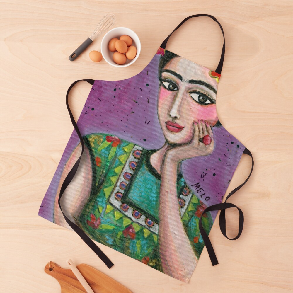 Happy Frida Kahlo Portrait with purple background Apron
