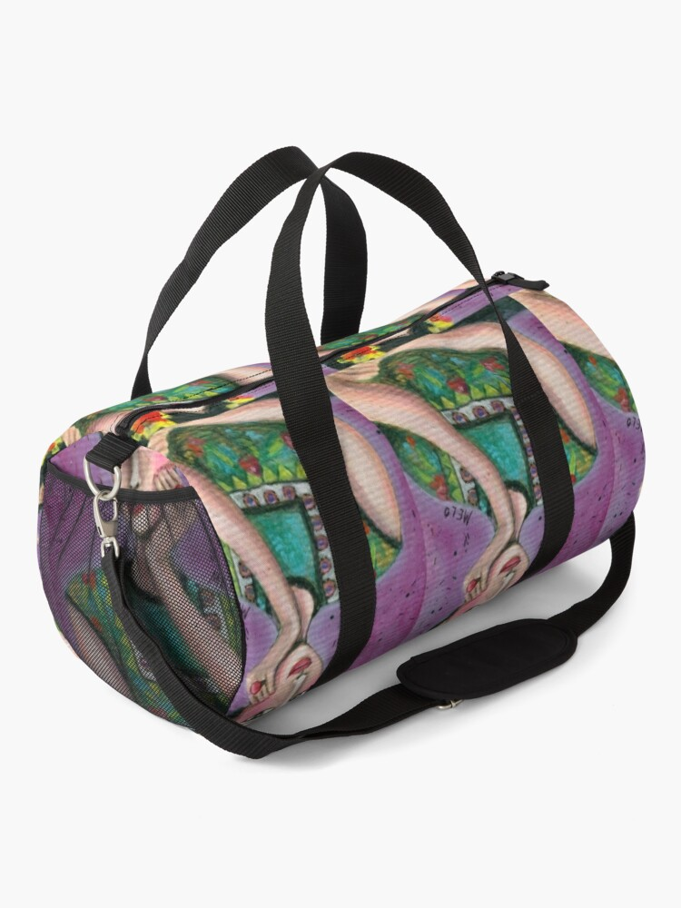 Alternate view of Happy Frida Kahlo Portrait with purple background Duffle Bag