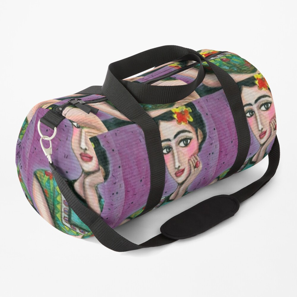Happy Frida Kahlo Portrait with purple background Duffle Bag