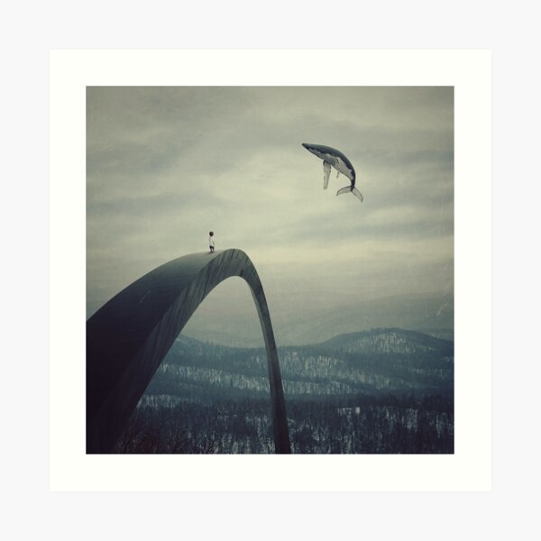 Boy and the flying whale Art Print