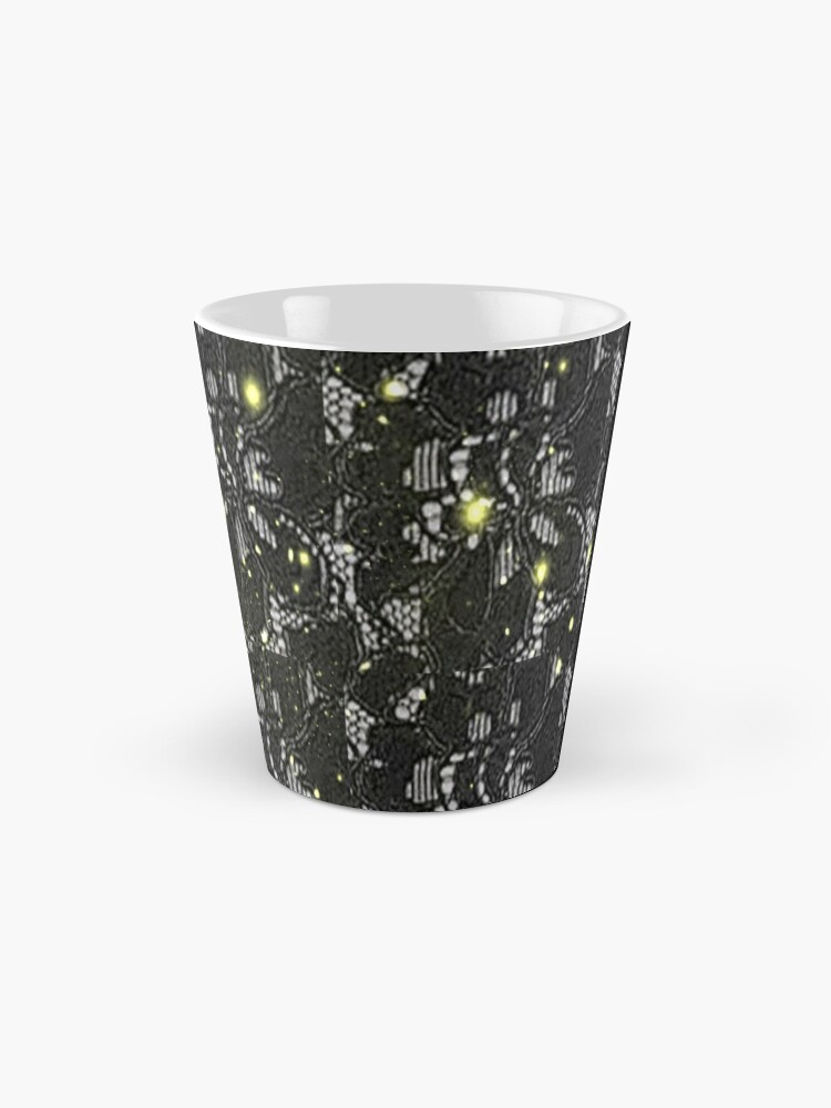 Alternate view of Print of black Spanish lace with a white back ground and gold specs Mug