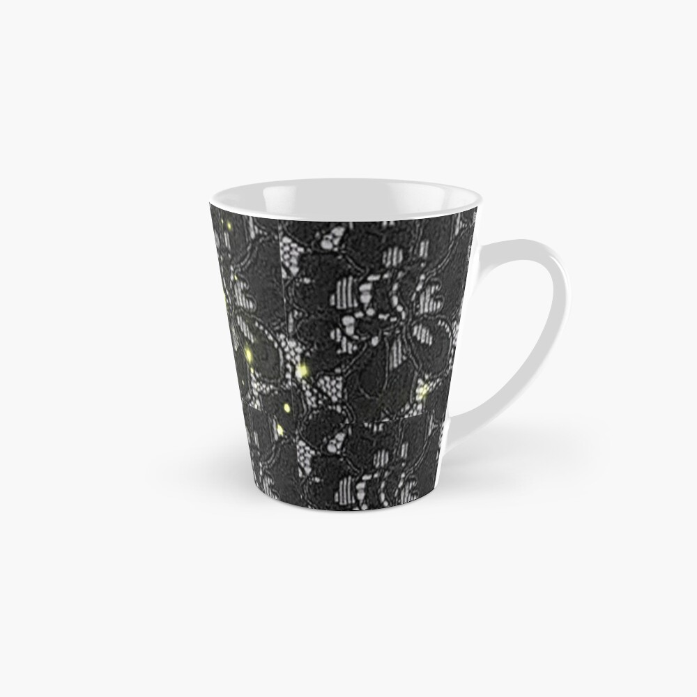 Print of black Spanish lace with a white back ground and gold specs Mug