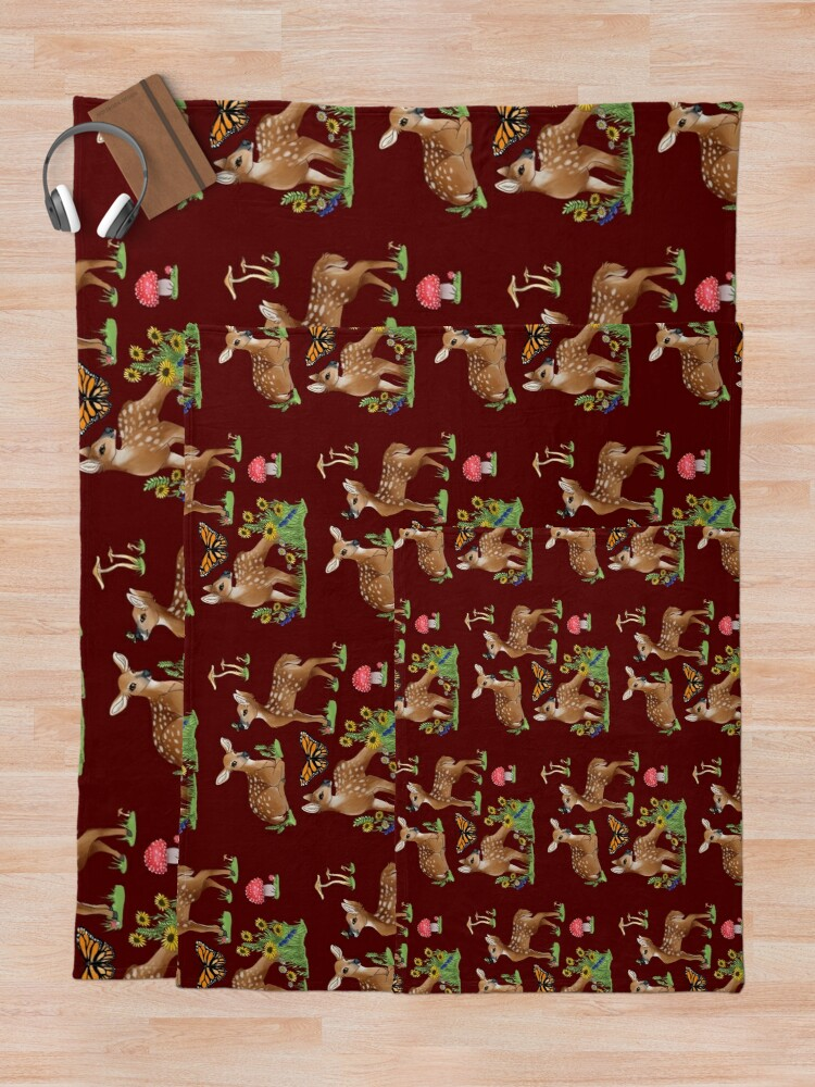 Alternate view of Playful Fawns Throw Blanket